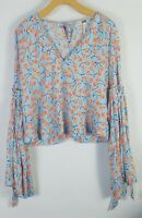 Free People Size XS Top Boho Tie Bell Sleeve Blue Orange Floral Casual