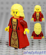LEGO - Female Minifigure Red / Gold Dress & Blonde Hair Princess Girl Castle