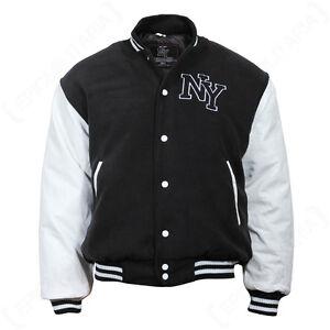 Vintage Style NY Baseball Jacket - Black Letterman Varsity Jersey All Sizes New