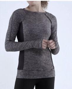 Lululemon Run Full Tilt Long Sleeve Heather Grey And Black Ruffles  6 Pullover