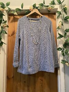 MANTARAY  CHENILLE FROSTED BLUE SUPER SOFT KNIT JUMPER TOP SIZE Xl 18/20
