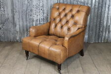 ANTIQUE STYLE LEATHER ARMCHAIR VINTAGE LOOK BUTTONED CHAIR WITH STUDWORK