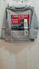 NWT Toddler T Shirt 24 Mos Christmas Count Down Long Sleeve Grey Quality Graphic
