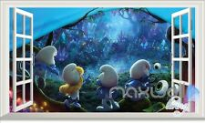 Smurfs The Lost Village 3D Window Wall decor Stickers Kids decals Gift
