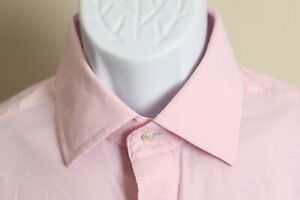 Peter Millar Men's pink and white micro-check Performance style l/s shirt L