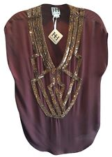 Haute Hippie Sequin Embelished Silk  Blouse Top  Size S  $345