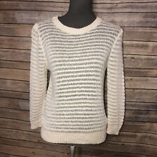 Theory Womens ivory cream striped sweater top knit Large L Cotton Linen Loose 6D