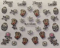 Easter Nail Art Stickers Decals Glitter Eggs Chicks Flowers Gel Polish Tips (54)