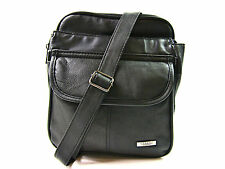 Unisex New Soft Black Leather Bag Messanger Zip Round Crossover Man Body Satchel