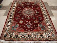MID NIGHT RED LOVE FLOWERS HAND KNOTTED RUG WOOL SILK CARPET (6 x 4)' FB-2483