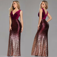 Women Elegant Long Burgundy Bridesmaid Wedding Dresses Cocktail Party Prom Gowns