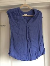 Monsoon Size 8 10 Blue Crepe V Neck Top Vgc