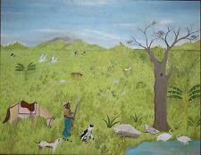 SENEQUE OBIN-Haitian Artist-Original Signed Oil-Hunter, Animals & Landscape
