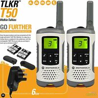 6KM MOTOROLA TLKR T50 Digital Rechargeable 2-Way Twin Walkie Talkie 2 Set Kit UK