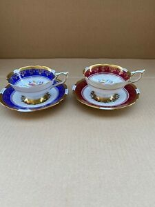 "Two Vintage Royal Stafford ""Poinsettia"" Bone China Tea Cups & Saucers"