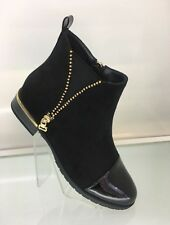 LADIES WOMENS FAUX SUEDE PATENT STYLE BLACK ANKLE RIDER BOOTS LOW HEEL SIZE 5