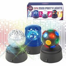 Pack of 3 Battery Operated Mini Disco Party Fun Lights, Plastic, Black, Set of 3