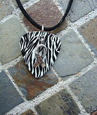 Zebra Stripe Carcinoid Hope Ribbon Guitar Pick Necklace.  Carcinoid Cancer