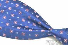 "BROOKS BROTHERS GOLDEN FLEECE Blue Geometric 100% Silk Mens Luxury Tie - 4.00"""