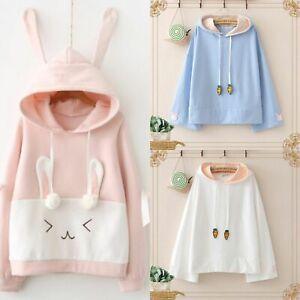 Kawaii Clothing Sweater Hoodie Harajuku Korea Japan Rabbit Bunny Sweatshirt Ear