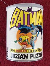 BATMAN and ROBIN puzzle round container 1973