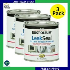 3 X Rust-Oleum LeakSeal Flexible Rubber Coating Sealer Stops Rust Black 240ml