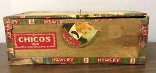 VTG ANTIQUE 1931 LA FLOR DE HAWLEY CHICOS 100 WOODEN CIGAR BOX