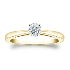 Certified 14k Yellow Gold 4-Prong Round Diamond Solitaire Ring 0.33ct G-H, I1-I2