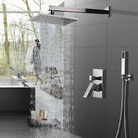Shower Faucet System Set 8 inch Rainfall W/Hand Shower Brushed Nickel Mixer Tap