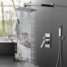 Shower Faucet System Set 8 inch Rainfall  Hand Shower Brushed Nickel Mixer Tap