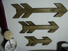 x1 Signo de Flecha De Madera Rustica Vintage forma tres 34.5cm Forma De Madera Boda
