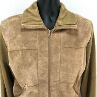 Vintage MONTGOMERY WARD Mens M Pigskin Suede Front Sweater Jacket Tan Full Zip