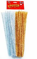 Amazing Arts and Crafts Gold and Silver Tinsel Pipe Cleaners Stems 30cm 100 pcs