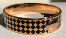 HALCYON DAYS HOUDON BLACK AND ROSE GOLD HINGED BANGLE WITH BLACK VELVET POUCH