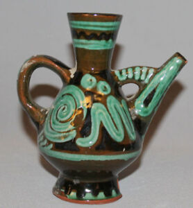 1959 EUROPEAN HAND MADE GLAZED REDWARE POTTERY SMALL PITCHER JUG SIGNED