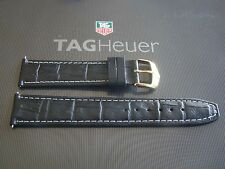 TAG HEUER GOLD BUCKLED 20-18 CROCO SPORTS DRIVERS PILOT'S BLACK WATCH BAND STRAP