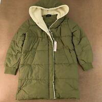 Love Tree Women's Size Large Olive Longline Puffer Sherpa Lined Jacket NWT