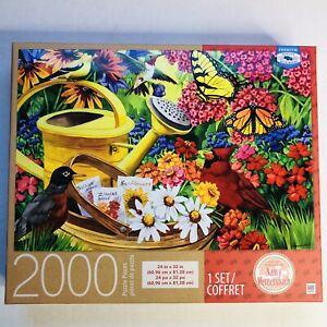 Milton Bradley Garden Friends 2000pc Puzzle Flowers Birds Butterflies Water can