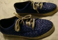Robert Zur Jesse Blue True Glove Tie Leather Mens 9 Woven Shoes Sneakers $328