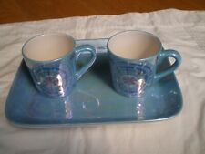 TWO WHITTARD OF CHELSEA SPARKLE LUSTRE TEA CUPS AND TRAY