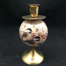 "India Exotics-Tomorrow Today Corp-Brass 1"" Candle Holder-Spherical Bird Design"