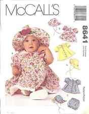 8641 UNCUT Vintage McCalls Sewing Pattern Infant Dress Hat Panties Baby OOP NEW