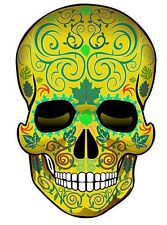 "SUGAR SKULL Dia de los Muertos Day of the Dead  DECAL STICKERS-Gold/2pack4""x2.5"""