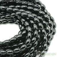 Natural Black Onyx Gemstone Rice Loose Spacer Beads 4mm 5mm 6mm 8mm 9mm 10mm 16""