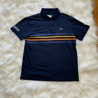 Lacoste Sport Polo Shirt Boys Size 16 Blue Short Sleeves Striped