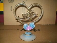 Blown Glass Heart & Dolphins / 24K. Gold Highlights / Coral Design Base