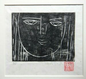 VINTAGE BLACK & WHITE LINOCUT - THE FACE- S BRUD - A/P - ON RICE PAPER -    P185
