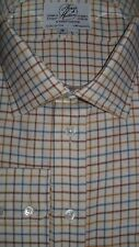 "Harvie & Hudson 18""/ 36"" Brushed Cotton Tan/Blue/Brown Check Single Cuff Shirt"