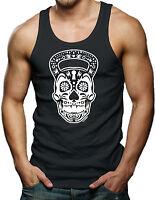 Kettlebell Sugar Skull Body Building Workout Gym Exercise Mens Tank Top T-shirt