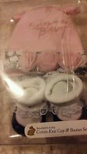 Newborn Cotton knit cap and Bootie set by Stephan Baby Pink Rosette & polka dot